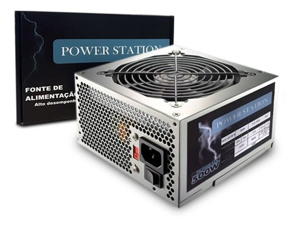 FONTE POWER STATION 500W REAL FT-500W BIVOLT CHAVEADA