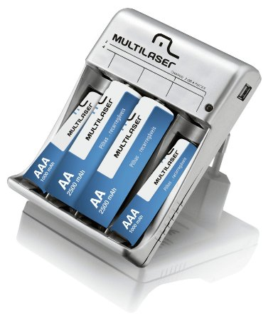 CARREGADOR DE PILHAS  MULTILASER AA/AAA COM SAIDA USB CB073