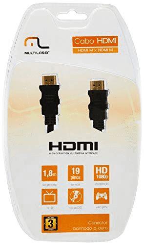 CABO HDMI MULTILASER 1.8M 19 PINOS CNCT BANHADO A OURO WI133 PRETO