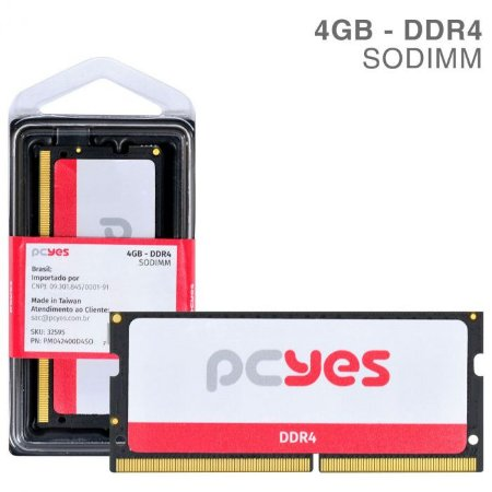 MEMORIA P/ NOTEBOOK PCYES 4GB DDR4 2400MHZ PM042400D4SO