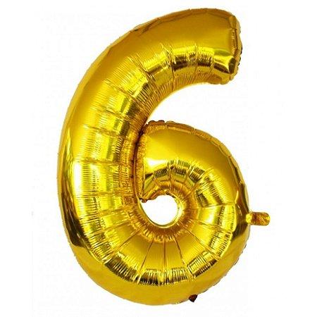Balão Dourado N6 - 75 cm - Br festas