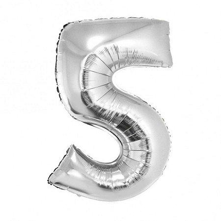 Balão prata N5 - 75 cm - Br festas