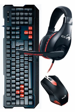 Kit Teclado Mouse e Headset USB Gamer Kmh-200 Preto Genius