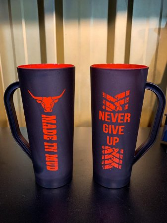 Caneca Slim Made in Mud Never Give Up Vermelha