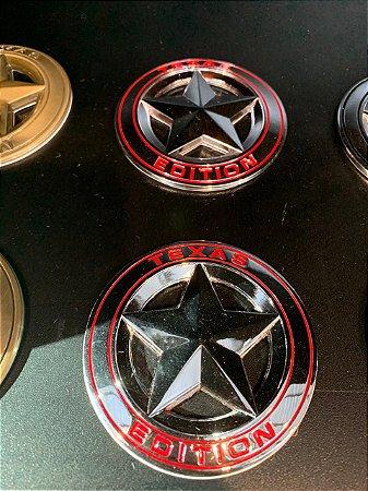 Emblema Texas Edition Redondo - Cromado\Vermelho