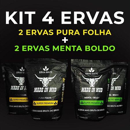 KIT 2 Ervas Mate Made in Mud Pura Folha Premium 500g + 2 Ervas Mate Made in Mud Menta/Boldo 500g + ADESIVO ERVA MATE