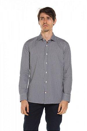 Camisa manga longa Xadrez - Blue Charcoal