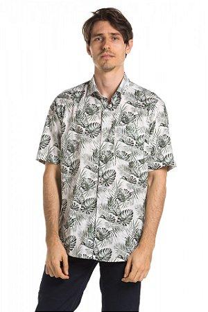 Camisa manga curta Summer Leaves - Branca
