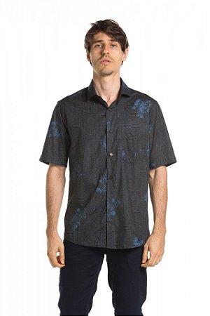Camisa manga curta Summer Leaves - Preta/Gulf Blue