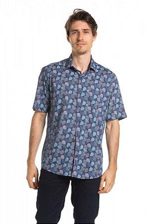 Camisa manga curta Summer Leaves - Gulf Blue