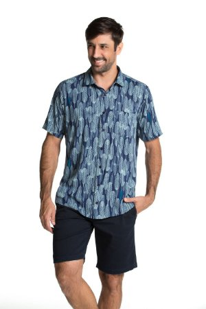 Camisa manga curta Summer Leaves - Blue Print