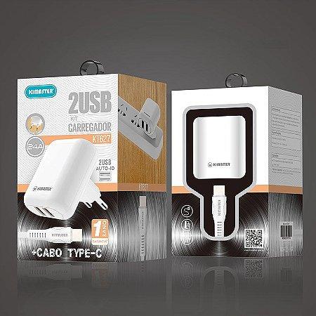 KIT CARREGADOR 2 USB + CABO TYPE-C