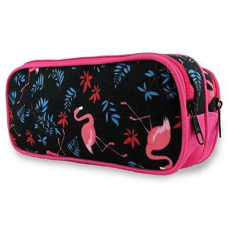 Estojo Escolar 2 Compartimentos Flamingos