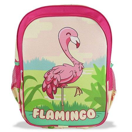 Mochila Escolar Infantil  de Costas Tamanho G Flamingo
