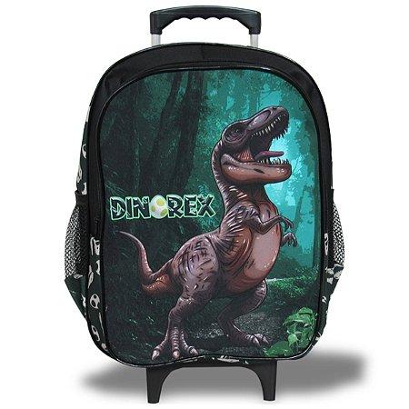 Mochila Escolar Infantil de Rodinhas Tam G Dino-Rex