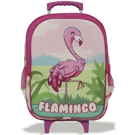 Mochila Escolar Infantil de Rodinhas Tam G Flamingo