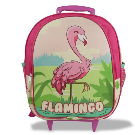 Mochila Escolar Infantil Tam M Rodinhas Flamingo