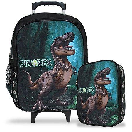 Mochila Escolar de Rodinhas Tam G e Estojo 100 Pens Dino-Rex