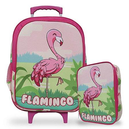 Mochila Escolar de Rodinhas Tam G e Estojo 100 Pens Flamingo