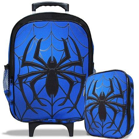 Mochila Escolar de Rodinhas Tam G e Estojo 100 Pens Spider