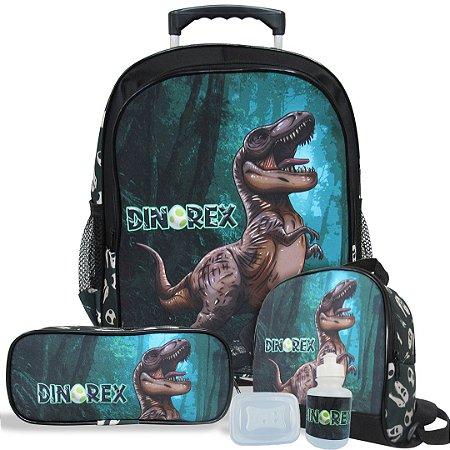 Kit Mochila Escolar Infantil Tam G de Rodinhas Dino-Rex