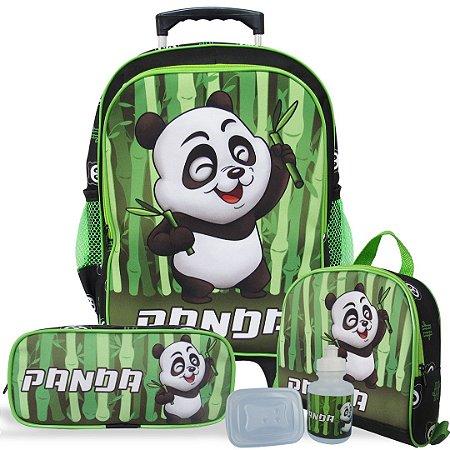 Kit Mochila Escolar Infantil Tam G de Rodinhas Panda