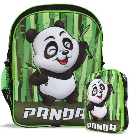 Mochila Escolar Infantil costas e Estojo 100 pens Panda