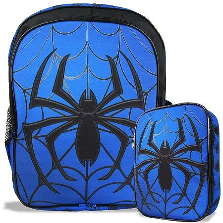 Mochila Escolar Infantil costas e Estojo 100 pens Spider