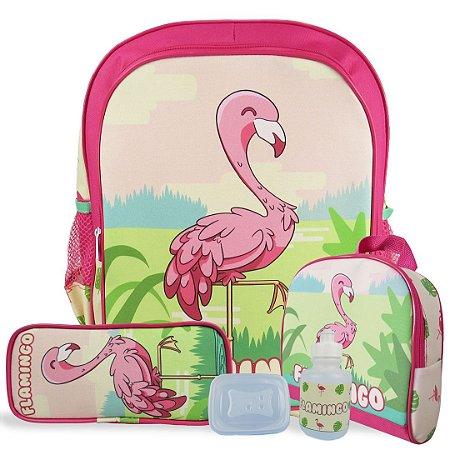 Kit Mochila Escolar Infantil de Costas Tam G Flamingo