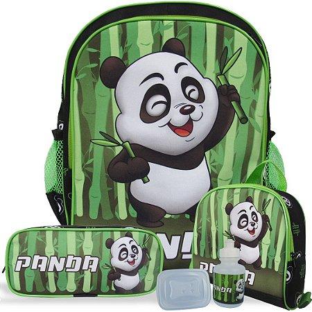 Kit Mochila Escolar Infantil de Costas Tam G Panda