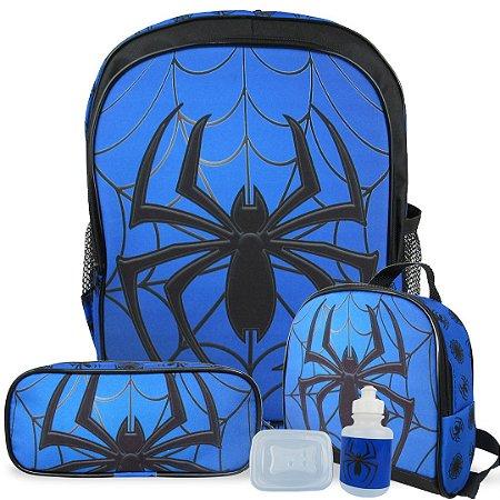 Kit Mochila Escolar Infantil de Costas Tam G Spider