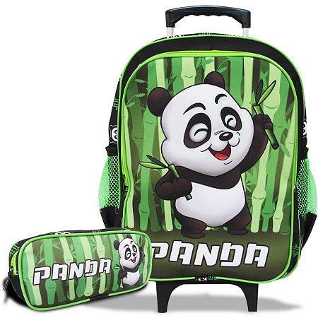 Mochila Escolar Infantil de Rodinhas e Estojo Panda
