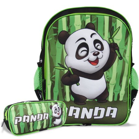 Mochila Escolar Infantil Tam G de costas e Estojo Panda