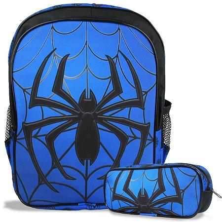 Mochila Escolar Infantil Tam G de costas e Estojo Spider