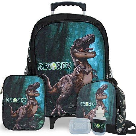 Kit Mochila Escolar Infantil Dino-Rex Tam G