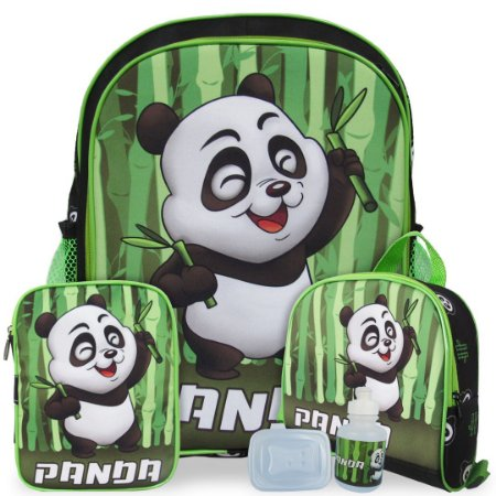 Kit Mochila Escolar Infantil Panda Tam G