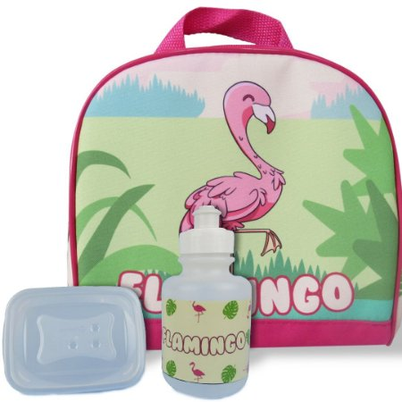 Lancheira Infantil Escolar Térmica + squeeze e pote Flamingo