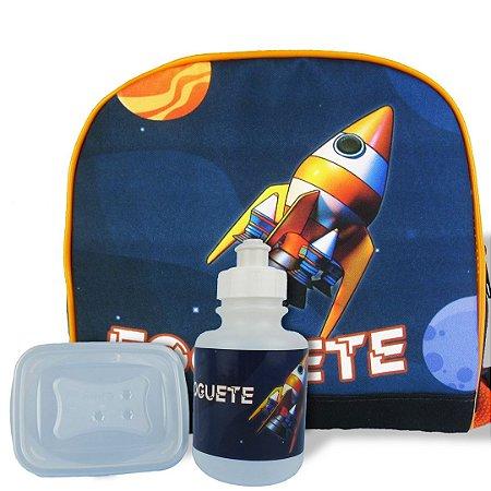 Lancheira Infantil Escolar Térmica + squeeze e pote Foguete