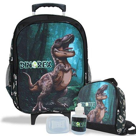 Mochila Escolar de rodinhas e Lancheira Dino-Rex Tam G