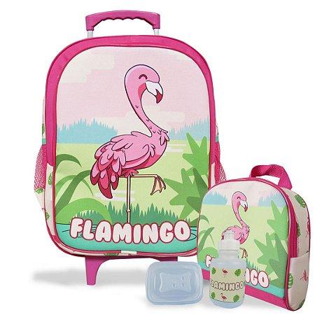 Mochila Escolar de rodinhas e Lancheira Flamingo Tam G