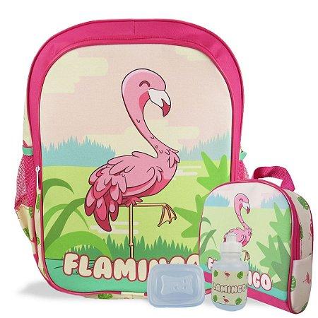 Mochila Escolar de costas e Lancheira Flamingo