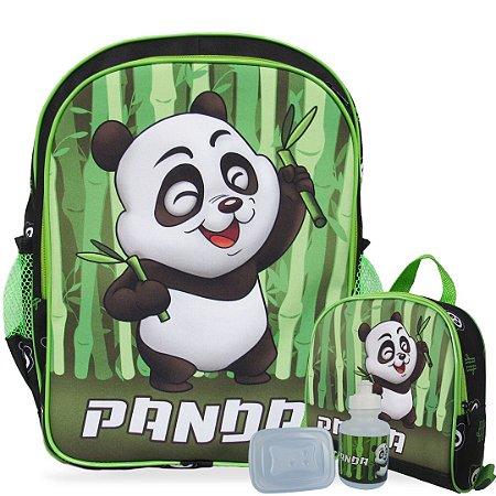 Mochila Escolar de costas e Lancheira Panda
