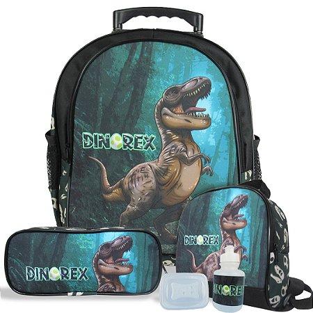 Kit Escolar Mochila Infantil de Rodinhas Tam M Dino-Rex