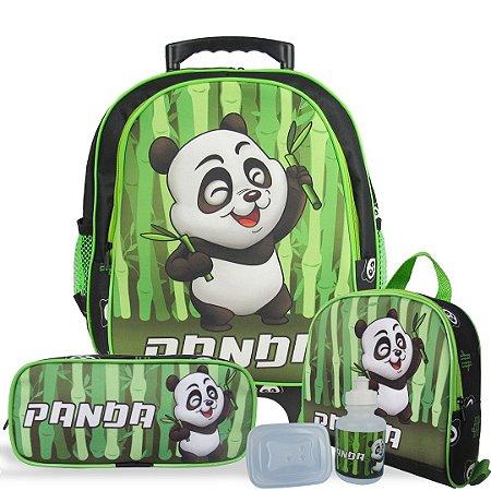 Kit Escolar Mochila Infantil de Rodinhas Tam M Panda