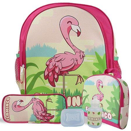 Kit Escolar Mochila Infantil de Costas Tam M Flamingo