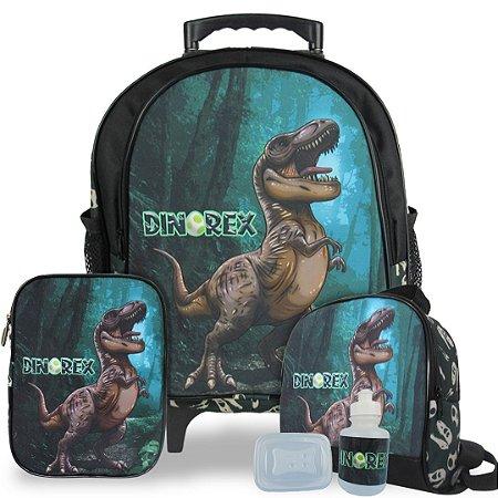 Kit Mochila Escolar Infantil Dino-Rex Tam M Rodinhas