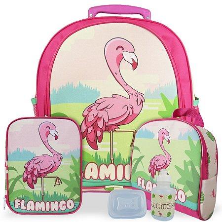 Kit Mochila Escolar Infantil Flamingo Tam M Rodinhas