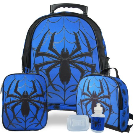 Kit Mochila Escolar Infantil Spider Tam M Rodinhas