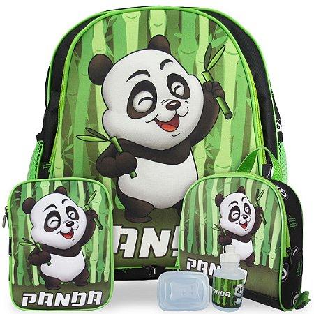 Kit Mochila Escolar Infantil Panda Costas Tam M