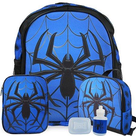 Kit Mochila Escolar Infantil Spider Costas Tam M
